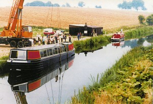 Rose being lowered into canal in 1982